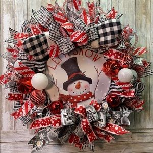 Handcrafted Christmas Snowman Wreath